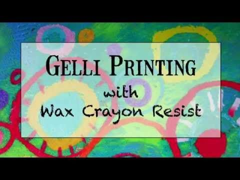 Using wax Crayola crayons, texture plates for rubbing, and acrylic paints on your Gelli plate you can create mixed media prints.