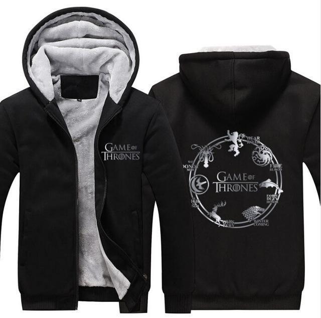 Game of Thrones Cosplay Mens Sweatshirt Hoodie Fleece Jacket Zipper Coat, Unisex