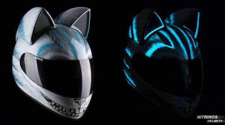 Cat Ear Motorcycle Helmet, glows in the dark :)