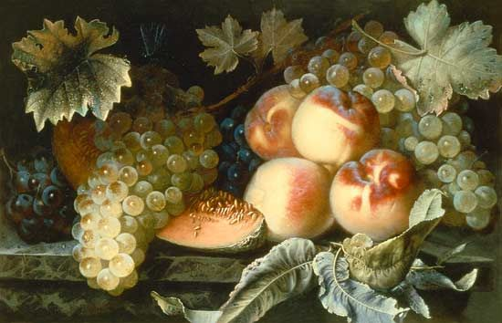 Pierre Dupuis-Still Life with Peaches, Melon and Grapes