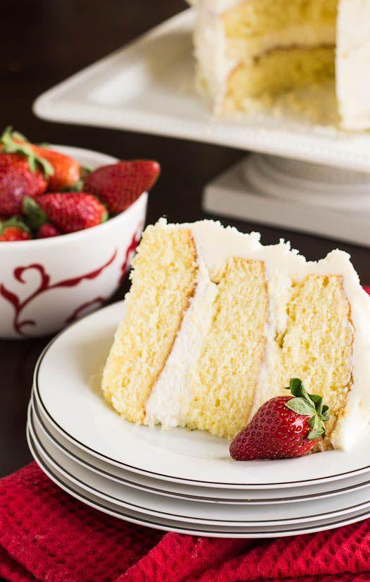 Almond Cake with Amaretto Filling and Almond Buttercream #recipe