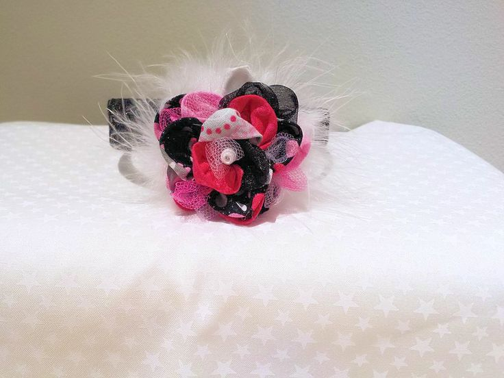 Shabby Chic Hot Pink and Black Fabric Rosette Headband
