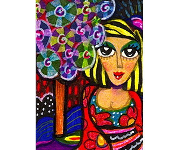 Whimsical Girl Print Whimsical Art Mixed by AGirlAnOwlAndACat, $10.00