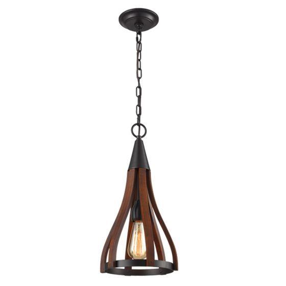 CLA Lighting Khaleesi Iron and Wood Pendant Light