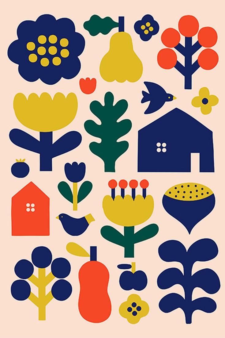 Scandinavian Wall Art Flower Folk Art Print Scandinavian Design Scandi Art Poster Nordic Artwork Scandinavian Wall Art Modern Folk Art Nordic Artwork