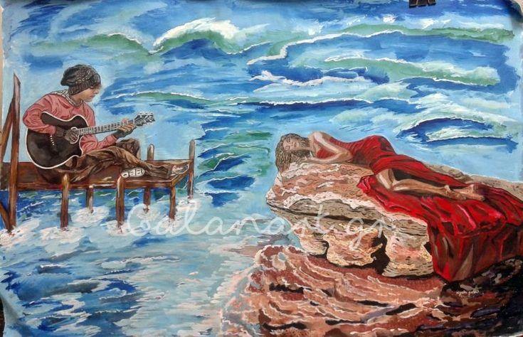 Ζωγραφική με ακρυλικό σε καμβά  Διαστάσεις : 110χ80 cm  Τίτλος: Η γοργόνα και ο μουσικός  Kωδ :214-2017  Αgathi Galan