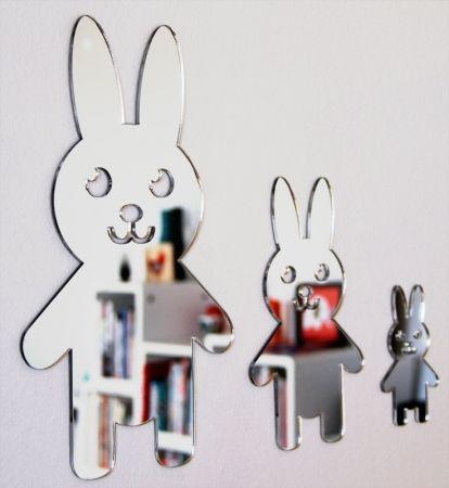 Shatterproof Rabbit Family Mirrors - hardtofind.