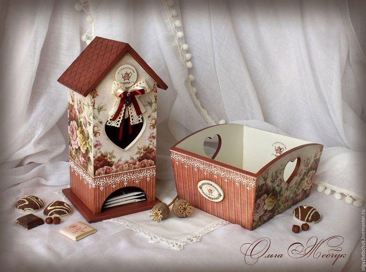 """Купить Чайный набор """" Английский чай """" - бордовый, чайный домик, набор для чаепития"""