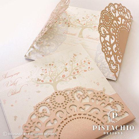 Blush doily design wedding invitation by www.pistachiodesigns.co.za
