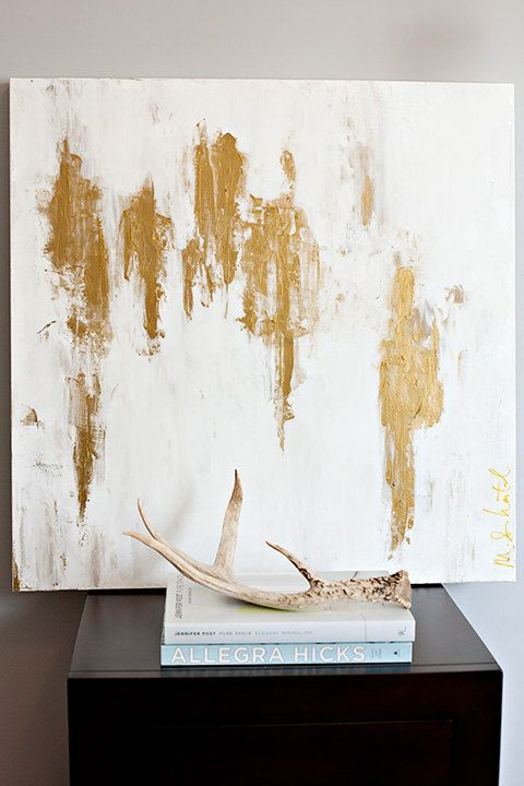 30x30 White/Gold Abstract. $365.00, via Etsy.