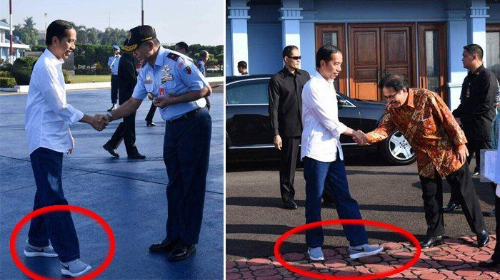Presiden Joko Widodo memakai kemeja putih, celana jins dan sneakers ketika kunjungan kerja ke Tasikmalaya, Jumat (9/6/2017) (ist)