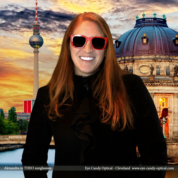 Alexandra sports her new cool designer sunglasses by Theo in Berlin, Germany. Eye Candy – Breaks down the Iron Curtain of optical chains to offer YOU the finest European Eyewear Fashion! Eye Candy Optical Cleveland – The Best Glasses Store! (440) 250-9191 - Book an Eye Exam Online or Over the Phone  www.eye-candy-optical.com