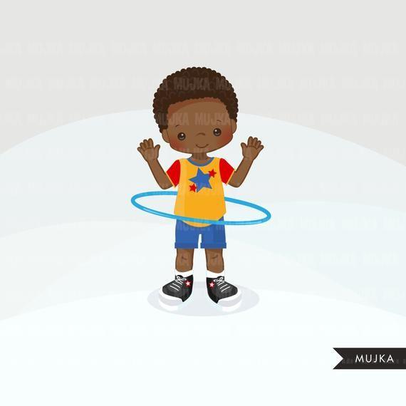 Hula Hoop Boys Clipart Outdoors Activity Hula Hoop Graphics Etsy Scrapbooking Set Clip Art Digital Stamps