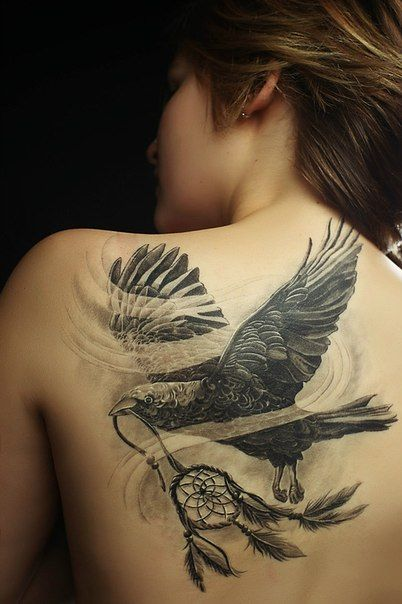 Crow and dream catcher tattoo by Ivan Skotina. Would be cool with a pocket watch instead of the dream catcher.