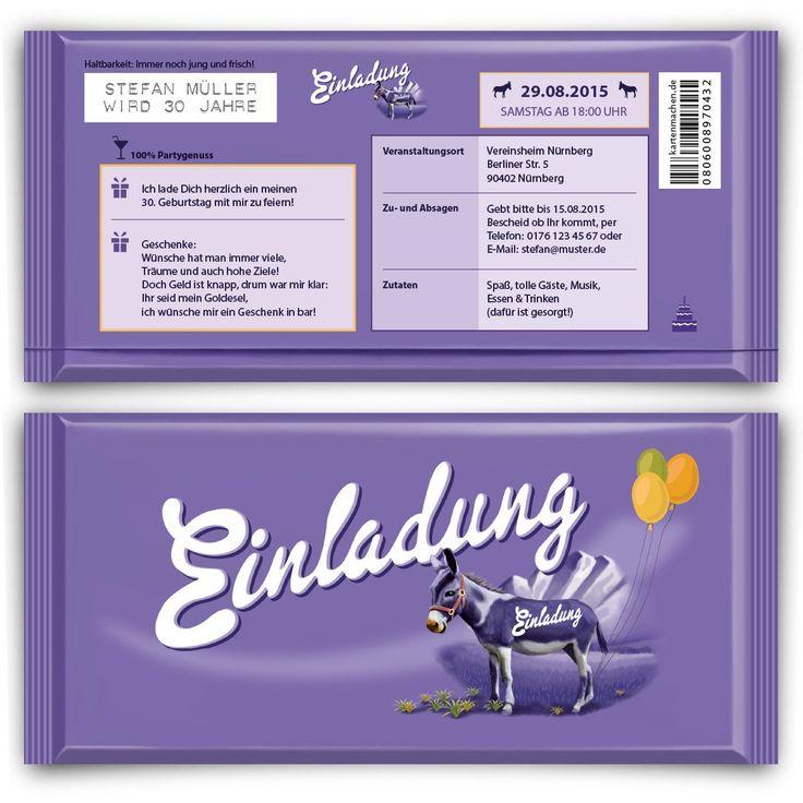 Einladungen Zum Geburtstag (50 Stück) Lila Schokolade Schoko Esel  Einladungskarten: Amazon.de