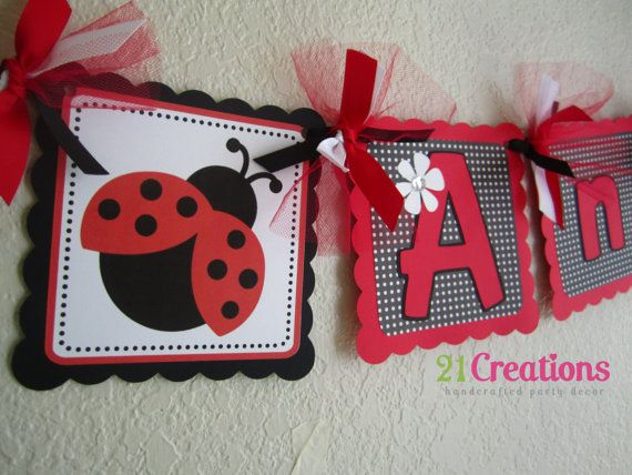 Ladybug Name Banner by 21CreationsToo on Etsy
