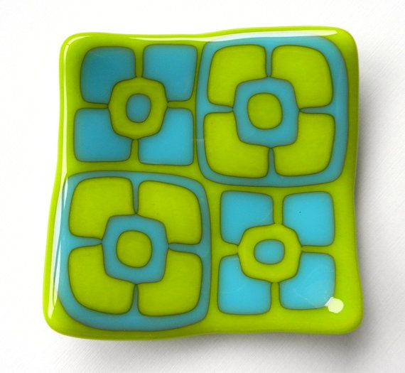 Lime Green and Turquoise mod flowers fused glass by pollyfusia, $25.00