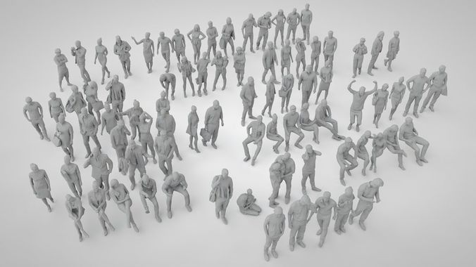 set of low poly people 82   3D Model