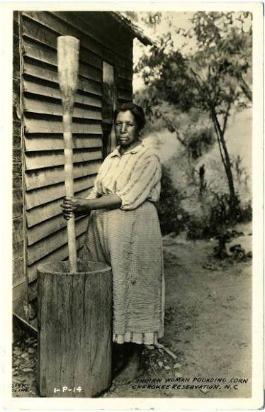 Cherokee woman - 1940 Pounding Corn, North Carolina Reservation.
