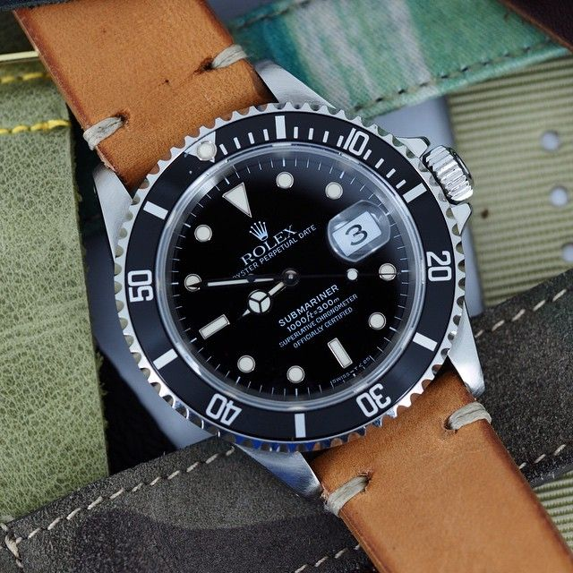 I'm enjoying my day with the Rolex 16610 Submariner on the vintage leather strap. I've never been one for swapping straps on Rolex but I think I may have found a new hobby. 1998 Tritium dial Sub...