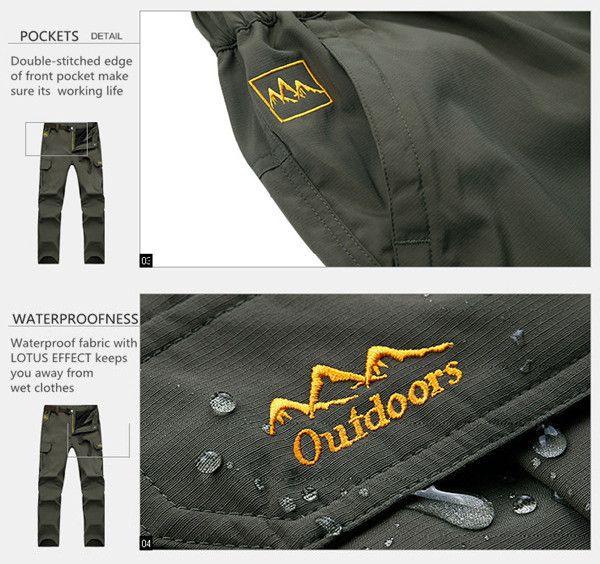 Men's Outdoor Mountaineering Pants Uphill Walks Waterproof Windproof Warm Breathable Trousers