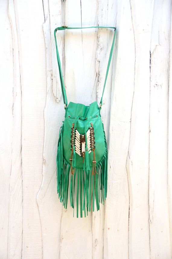 Boho leather bag green fringed leather handbag boho by etnikabali