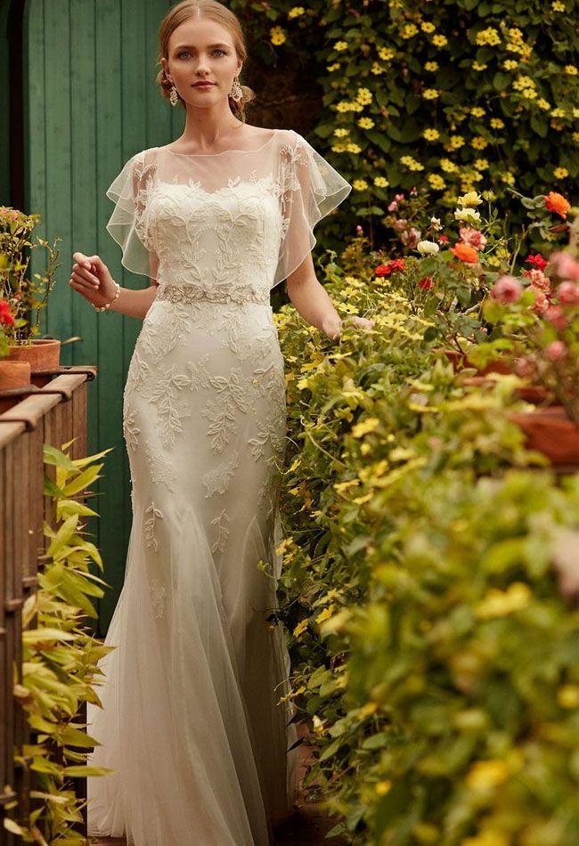 pretty sheer top   BHLDN wedding dress