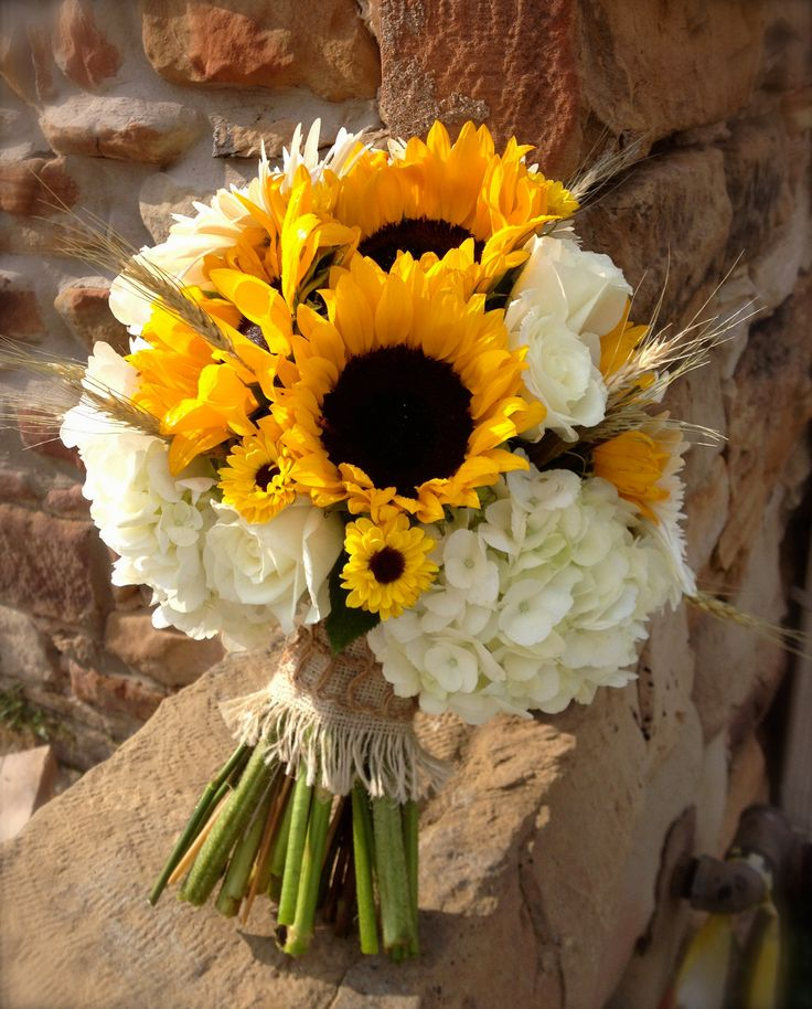 Sunflower Brides Bouquet With White Hydrangeas Roses And Oklahoma Wheat Burlap Wrap
