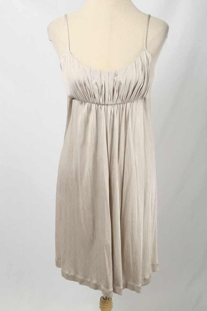 Tara Jarmon Size 42 or 12 Beige Sheen Pleated Bust Empire Waist Dress 1448 L417  | eBay