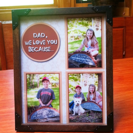 "Fathers Day Gift. Another Pinterest inspiration! One of my kids gifts to Dad on Sunday. It says ""Dad we love you because.... You are a cool dad who takes us to fun places! & You are my best sports buddy! & Happy Fathers Day 2011. I made the chalkboard out of a half round from the wood pile :)"