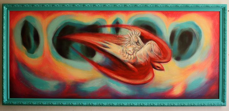 """""""Sueño en el Viaje"""" 200 x 90 cms acrílico y barniz satinado sobre lona 2016"""