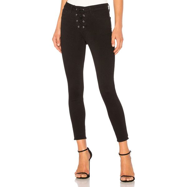 L'AGENCE The Cherie Lace-up Skinny (£190) ❤ liked on Polyvore featuring jeans, lace up jeans, white super skinny jeans, skinny leg jeans, white skinny jeans and l agence jeans