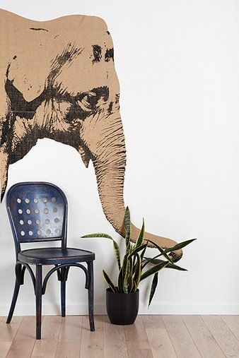 Elephant Wall Decal - for good luck - for the living room wall (@Urban Outfitters)