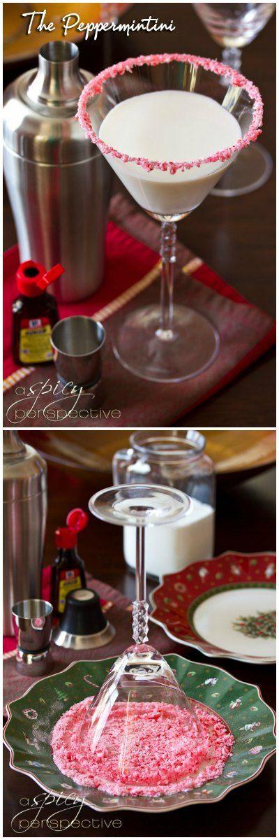 Peppermint Martini AKA The Peppermintini!  ASpicyPerspective.com #cocktails #holidays #christmas #recipe