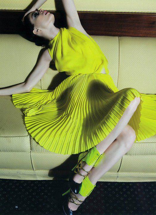 Neon Yellow: Yellow Fashion, Summer Fashion, Fashion Dresses, Color, Neon Dresses, Fashion Photography, Fashion Editorial, Coco Rocha, Neon Yellow