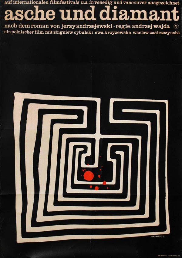 1965 German poster for ASHES AND DIAMONDS (Andrzej Wajda, Poland, 1958)