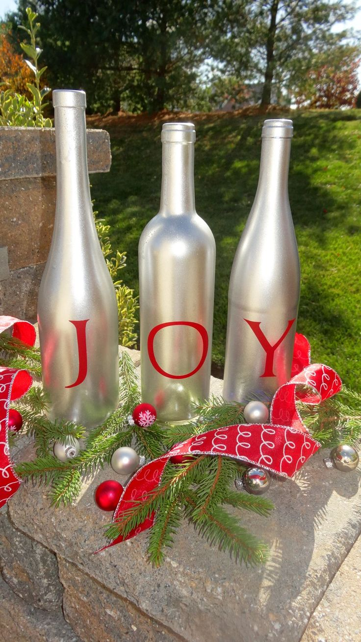 How To Decorate Bottles For Christmas 20 Best Images About Wine Bottle Repurposed Projects On