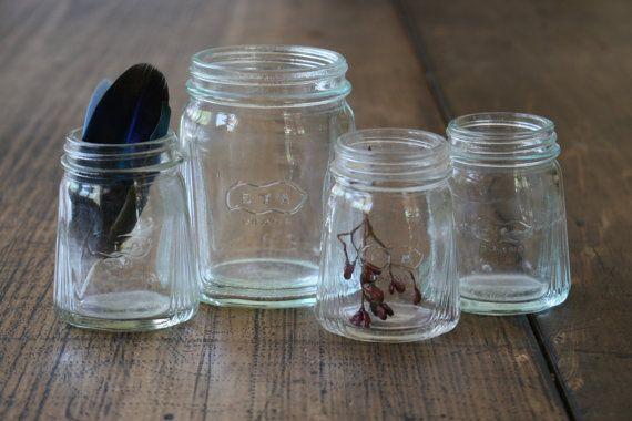 Set Moulded Glass Eta Bottles ETA Brand Nut Foods by FoundByHer