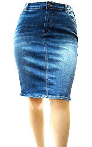 a2877aee155 JACK DAVID Woman Plus Size Blue Stretch Denim Jeans Skirt 1X 2X 3X - https