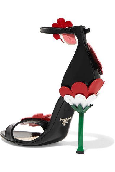 Prada - Floral-appliquéd Patent-leather Sandals - Black - IT36.5