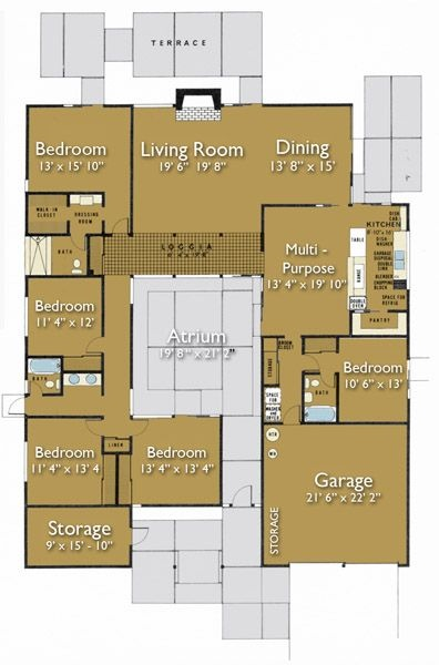 house plan #470-6 floorplan by joseph eichler / also known as plan hpo-15 by claude oakland