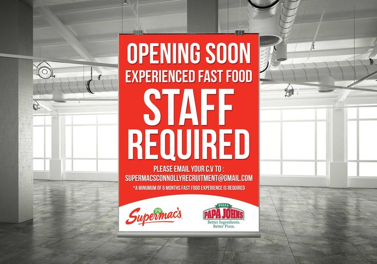 SuperMacs Staff Required-Poster Alias M&D Graphics Designer Tallaght - Supermacs.ie