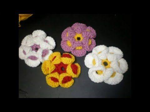 Flower crochet 3 D - Double crochet - Idealika