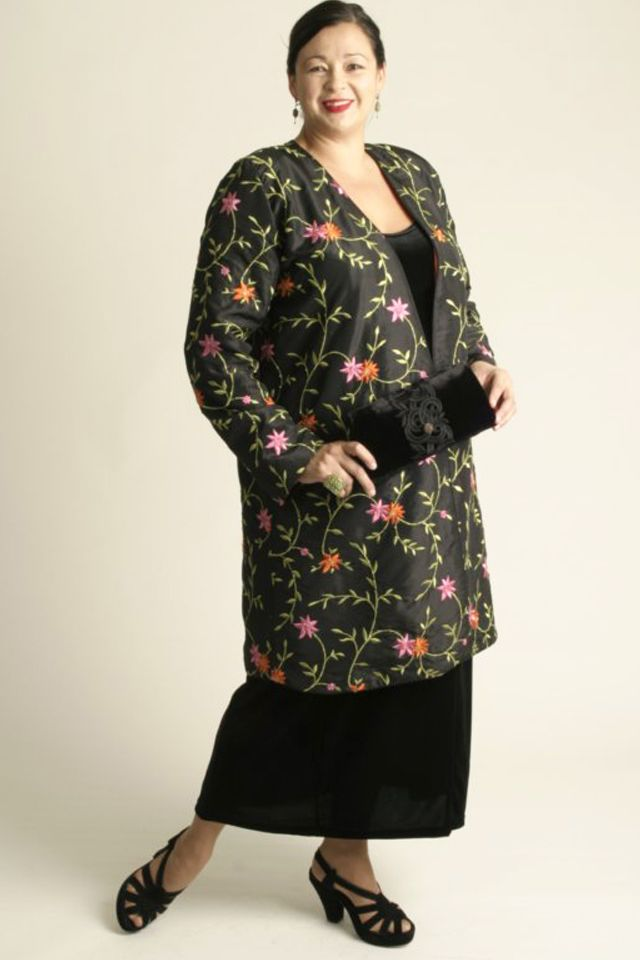 497a89dcfd4 Plus Size Special Occasion Kimono Coat Beaded Embroidered Floral Black  Brights SHOP NOW  Unique jackets