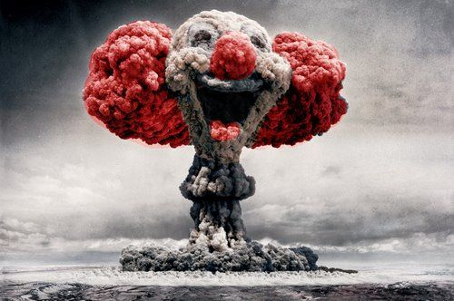 """They call us crazy, in a world where the rights make bombs."" (Bob Marley): Evil Clowns, Mahatma Gandhi, Games Of Life, Photo Manipulation, Photomanipul, Jokers, Cloud, Cold War, Mushrooms"
