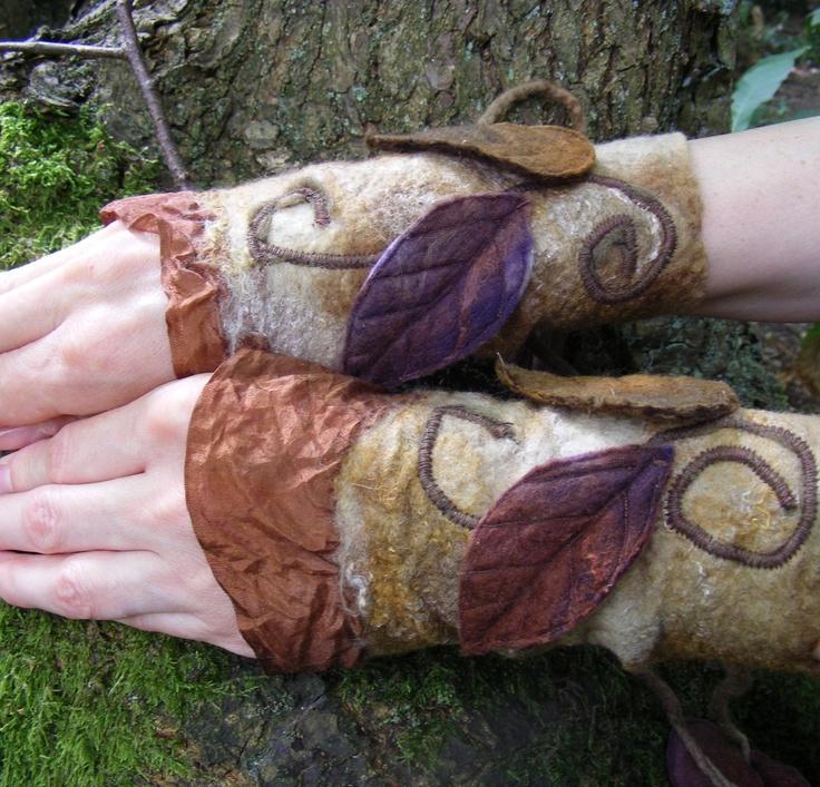 Earth Nuno Felt Faerie Cuffs. $45.00, via Etsy.