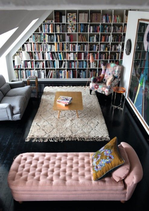 25 Stunning Home Libraries. Messagenote.com Conversion loft library with west elm rug, cozy furniture, big wall print.