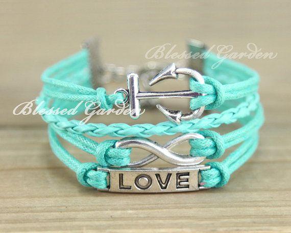 jon..chirstmas!!! i want this in white bracelet anchor bracelet infinity braceletmint by BlessedGarden, $7.59