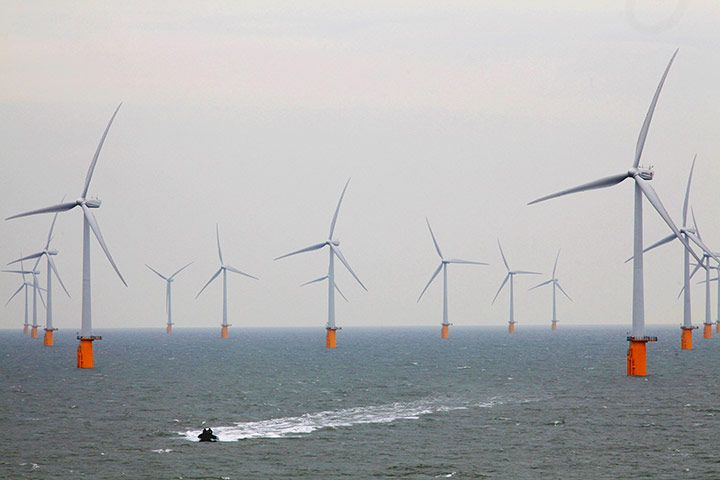 In September, the UK opened the world's biggest offshore windfarm at Thanet, off the coast of Kent. The eight lines of turbines, running north-west to south-east, cover a total area of 35sq km off Foreness Point near Margate. With 100 turbines, each 115 metres high with 44-metre blades, it can generate 300 megawatts (MW) of power – enough for 200,000 homes