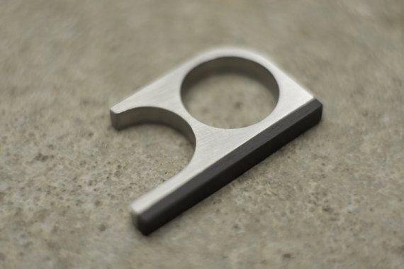 Titanium Bauhaus Minimalistic Knuckle Ring with Blackwood